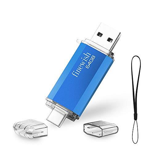 HAODIUSB88 Chiavetta USB Tipo C 64 GB, 2 in 1 Type C Penna USB 64 giga USB C Pen Drive 64GB per PC/New MacBook/Tablet/Smartphone Huawei, Samsung, Xiaomi, Oneplus (Blu)