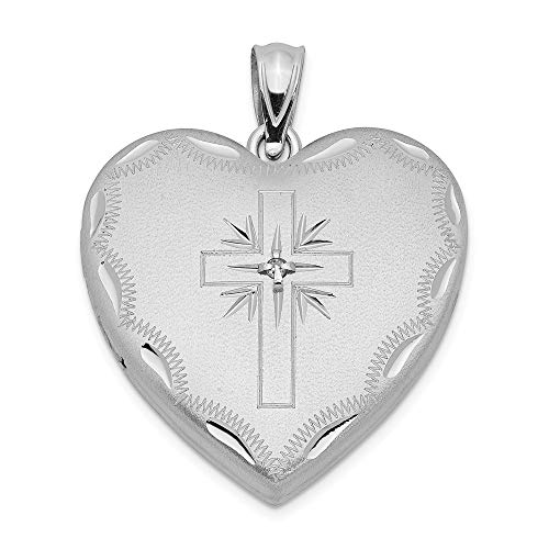 925 Sterling Silver 24mm Diamond Cross Religious Design Family Heart Locke Necklace Pendant Charm Locket Fine Jewelry For Women Gifts For Her