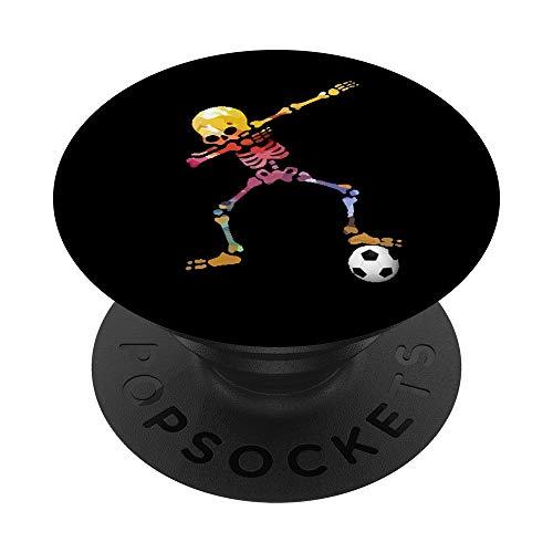 Dabbing buntes Skelett Fussballer Dab Fußball Fussball Team PopSockets PopGrip: Ausziehbarer Sockel und Griff für Handys/Tablets mit Tauschbarem Top
