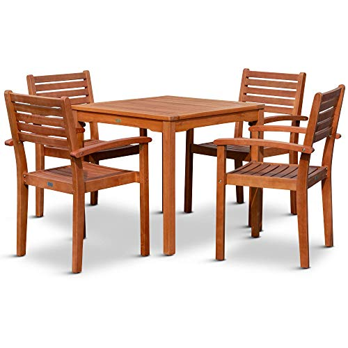 DTY Outdoor Living Leadville Square 5-Piece Eucalyptus Dining Set, Natural Oil Finish