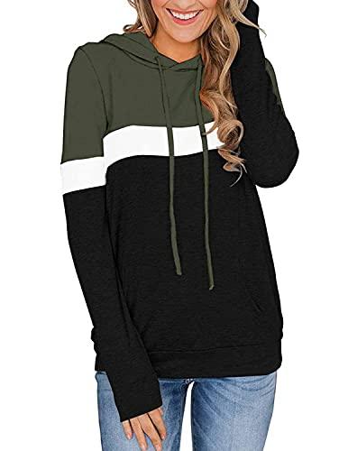 felpa donna manica lunga YIYIN Felpe con Cappuccio Donna Manica Lunga Casuale Pullover Sweatshirt con Tasca Autunno Inverno Tops Maglione Verde L