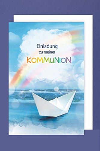 Kommunion Einladungen Karte 5er Set Regenbogen Boot Grußkarte B6