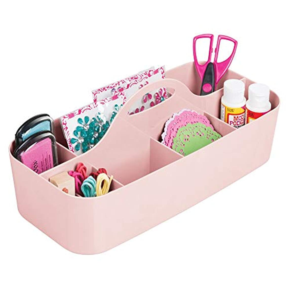 mDesign Plastic Portable Craft Storage Organizer Caddy Tote, Divided Basket Bin for Craft, Sewing, Art Supplies - Holds Paint Brushes, Colored Pencils, Stickers, Glue - Large - Pink/Blush