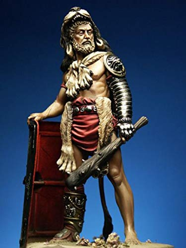 XINGCHANG 1/24 75Mm Ancient Warrior Stand with Shield Resin Figure Model Kits Miniature Gk Unassembly Unpainted