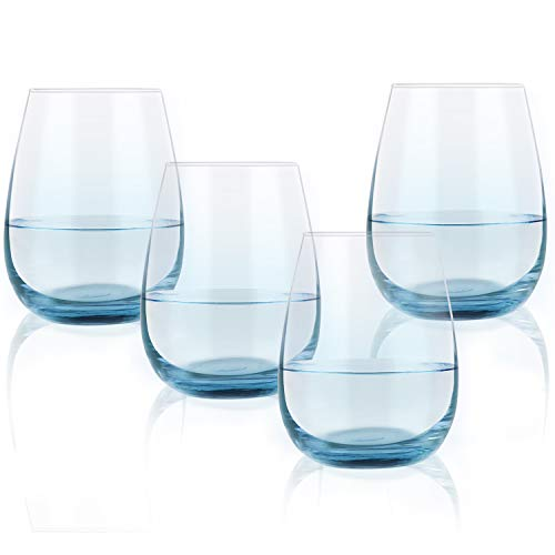 Colored Stemless Wine Glass Set of 4, 15 Oz Vibrant Wine Glass with Blue Bottom for Men Women Friend Coworker Lover, Gift Idea for Party Festival Daily Use