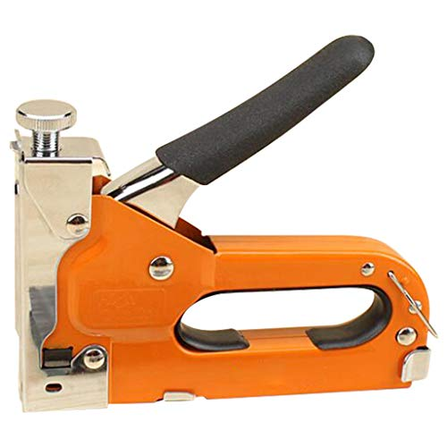 Bascar Juego de grapadora de mano, grapas pesadas, 3 en 1, herramienta de manualidades de madera, tejido de papel, grapadora de 3 vías con 600 grapas para fijar