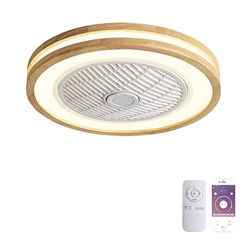VOMI Lámpara de Ventilador de Madera con Mando a Distancia Regulable LED Ventilador de Techo con Luz 72W Sala Silencio Fan Delgada Forma Redonda Decoración para Cuarto Comedor Oficina