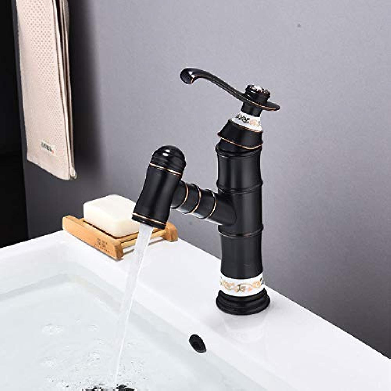 MICOKY Wasserhahn europischen schwarzen heien und kalten Mischbatterie Wasserfall Bad Waschbecken Wasserhahn ziehe