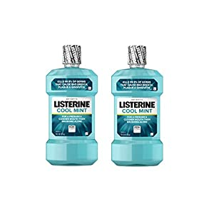 Listerine Cool Mint Antiseptic Mouthwash to Kill 99% of Germs that Cause Bad Breath, Plaque and Gingivitis, Cool Mint Flavor, 1 L (Pack of 2)