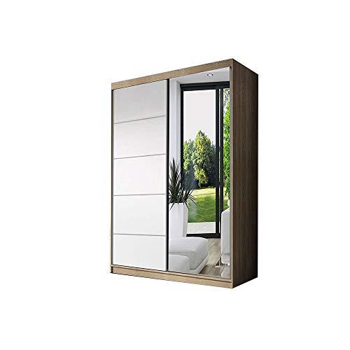E-MEUBLES Armoire de Chambre avec 2 Portes coulissantes | Penderie (Tringle) avec étagères (LxHxP): 120x200x61 Noah 05 (Sonoma/Blanc)