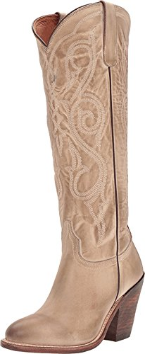 """Lucchese Womens Vanessa Embroidery Round Toe Western Cowboy Boots Over The Knee Low Heel 1-2"""" - Brown - Size 7.5 B"""