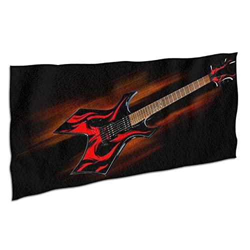 NANITHG Toalla de Playa de Microfibra,Guitarra de Fuego de Heavy Metal,Deportes Toalla Secado Rápido,Manta de Grande y Liviana de Viaje para Gimnasio 37x74in