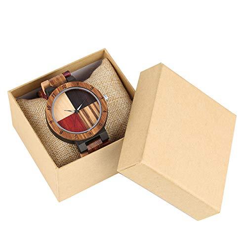 RWJFH Holzuhren Kreative einfache Bunte Holz Link Armreif Herrenuhr Hochwertige Holz Uhr Gehäuse Faltschließe Quarz Uhrwerk Geschenke, mit Box