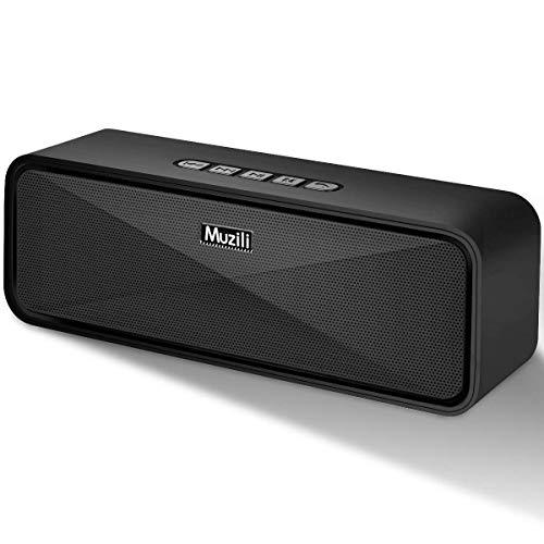 Muzili Bocina Bluetooth 5.0, Altavoz Bluetooth Portátil con Sonido Estéreo HD, 12 Horas de Tiempo de Trabajo, 3.5mm AUX/Micro SD/TF/USB,Bocina Bluetooth contra Agua Compatible con iOS Android iPad Pc