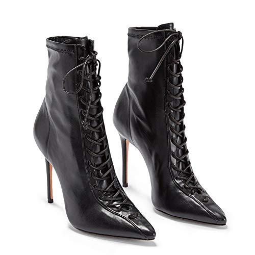 CJCJ-LOVE Fashion Boot, PU Stiletto, Schnürstiefel, Damenmode (Silber, Schwarz),Schwarz,40