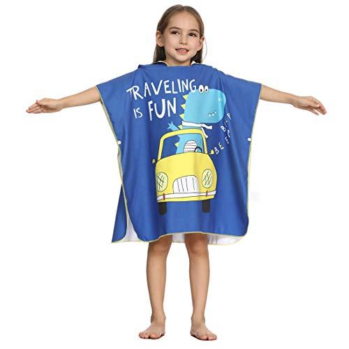 Xlabor Poncho de baño para niños de microfibra, secado rápido, toalla de playa con capucha, albornoz de ducha, toalla de natación, surfing, playa, buceo, diseño E