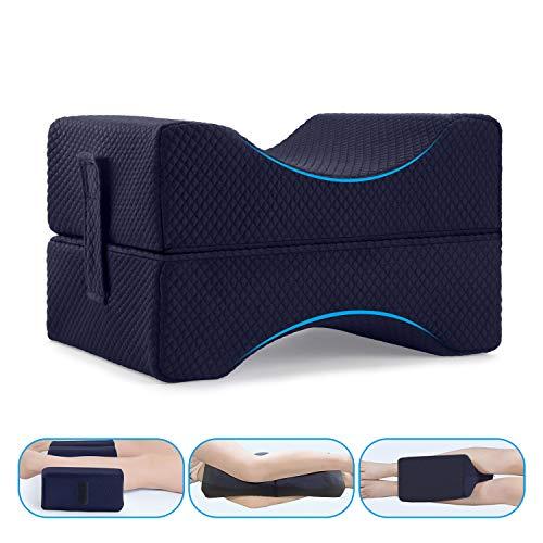 Guiffly Kniekissen Memory Foam Orthopädische Beinkissen mit abnehmbarem Gurt zur Höhenanpassung, Schmerz- und Stressabbau für besseren Schlaf