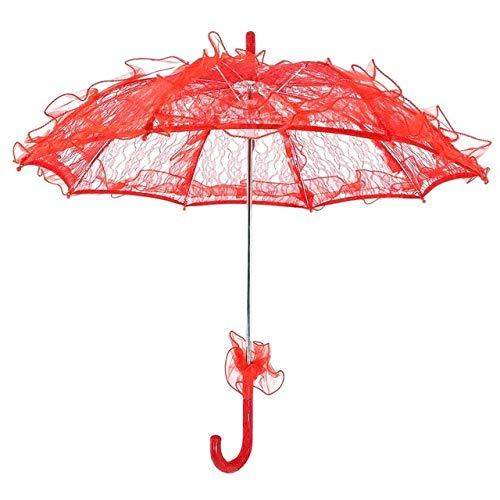 Paraguas de Boda Paraguas de Novia de Encaje Multicolor Accesorios de Baile de Escenario Paraguas Accesorios de fotografía Temperamento Sombrilla de Sol - Rojo