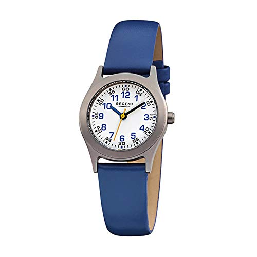 Regent Kinder-Armbanduhr blau Analog F-947 Leder-Armband URF947 Analoguhr