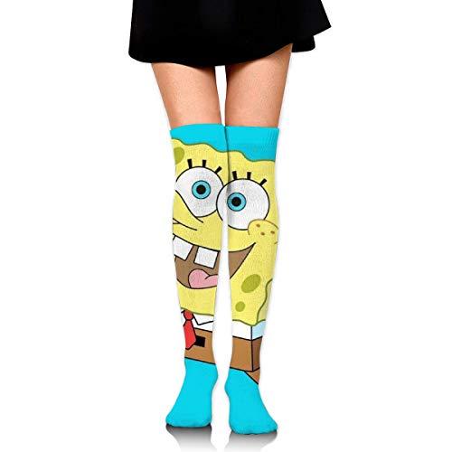 Frauen Oberschenkel Hohe Strümpfe Kompression Beinwärmer Laufen SpongeBob Stiefel Strumpf Extra lange Sport Tube Socken
