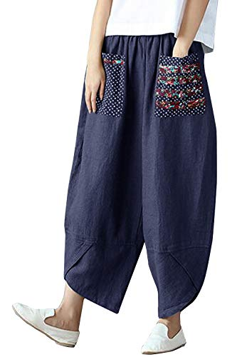 Yidarton - Pantalones de lino para mujer, para verano, con bolsillos B-azul. M