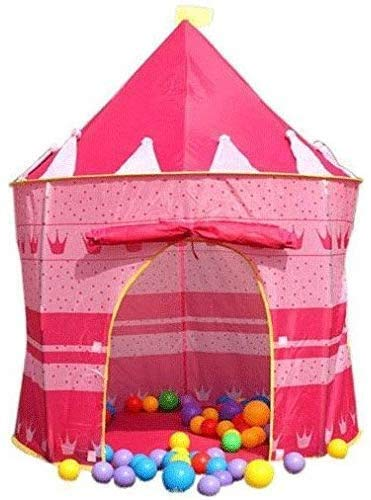 Jilibaba Foldable Play Tent Pop up Portable Castle Playhouse Kids Girls Children Outdoor/Indoor Games Pink 135 x 105 cms