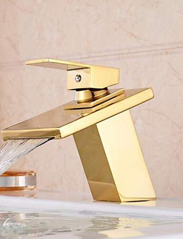 Mainstream home LPZSQ Tippen Frderung Wasserfall Bad Goldenen Wasserhahn einzigen Griff Waschbecken Mixer Wasserhahn Deck Mount  566