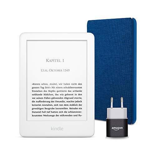 Kindle Essentials Bundle mit einem Kindle (Weiß) ohne Spezialangebote, einer Amazon-Hülle aus Stoff (Blau) und einem Amazon Powerfast 5-W-Ladegerät