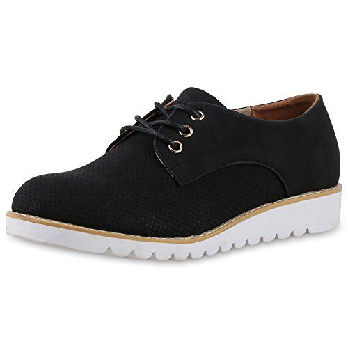 SCARPE VITA Damen Schnürschuhe Halbschuhe Profilsohle Leder-Optik Schuhe 164312 Schwarz Schwarz 38