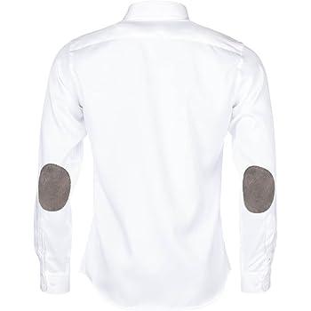 ALLBOW Camisas Formales para Hombre, Blanca, Slim Fit con Parches ...