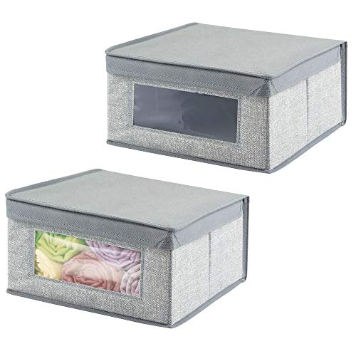 mDesign Juego de 2 cajas de tela apilables con ventana trans