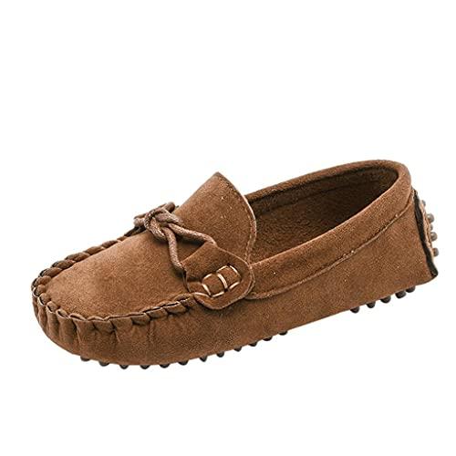 Zapatillas para niña y niño, de un solo color, parte inferior suave, transpirables, para el tiempo libre, para la playa, el senderismo, de ante, de un solo color, antideslizantes., marrón, 25