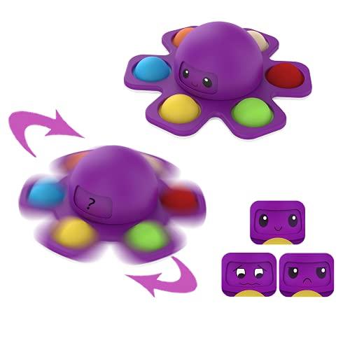 Juego Juguete Antiestres,Push and Pop Bubble Fidget Toy,Silicona Sensorial Fidget Juguete,Juguete Sensorial Antiestrés para Niños Adultos,Pulpo Fidget Toy Hoyuelo Simple Pop-it Fidget Splnner