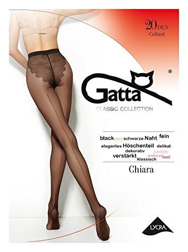 Gatta Chiara Classic - 20den - elegante transparente Feinstrumpfhose mit Naht und Bikinihöschen (4-L, Nero)