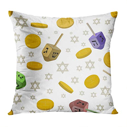 Moladika Throw Pillow Cover Square 20 x 20 Inch Hanukkah Traditional Symbols Holiday Dreidel Star David Coins White Cushion Home Decor Living Room Sofa Bedroom Office Polyester Pillowcase