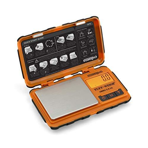 Truweigh TUFFWEIGH Digital Mini Scale 1000g x 01g - OrangeBlack - Rubberized Impact Resistant Digital Kitchen Scale - Travel Digital Pocket Scale - Digital Food Scale - Small Digital Scale