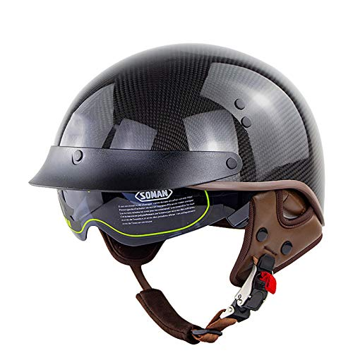 Casco de Motocicleta Fibra de Carbono, Medio Casco Retro Casco Jet de Motocicleta, Cruiser Chopper Scooter Casco de Seguridad Aprobado por ECE,Adecuado Para Montar al Aire Libre. Carbon Fiber,M