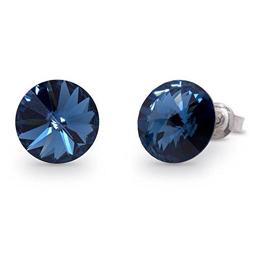 Swarovski Elements Damen Ohrring Ohrstecker Sterling Silber 925, Swarovski Kristall 11 mm rund dunkelblau
