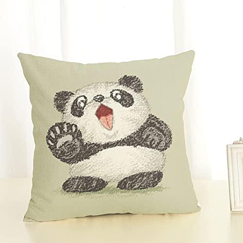 Oukeep Panda De Dibujos Animados Funda De Almohada Decorativa Algodón Puro Lino Material De Lavado Hogar Dormitorio Sofá Funda De Cojín Asiento De Escritorio De Oficina Funda De Almohada