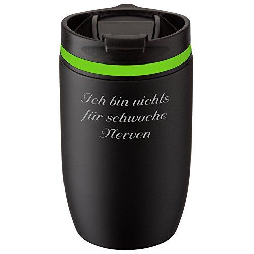 Metmaxx® Thermobecher Crema Officina Nero 380 ml mit persönlicher Rund-Gravur Edelstahl Schwarz/Grün