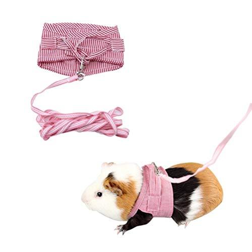 TOSSPER 1 Rosa Hamster Kaninchen Gurt und Leine Set Frettchen Meerschweinchen Kleintier-Haustier Geht Führleine Haustierbedarf