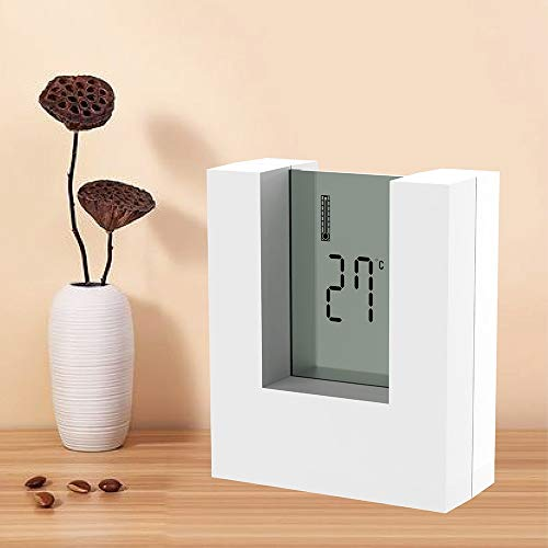 Alarm clock Electronic square LCD Calendar Alarm clock digital desk watch white with home Thermometer Count Down Timer battery operated Countertop alarm clock (Color : White)