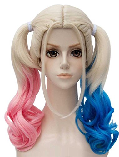 TSNOMORE Middle Length Culry Ponytails Cosplay Wig for Women (Pink and Blue)
