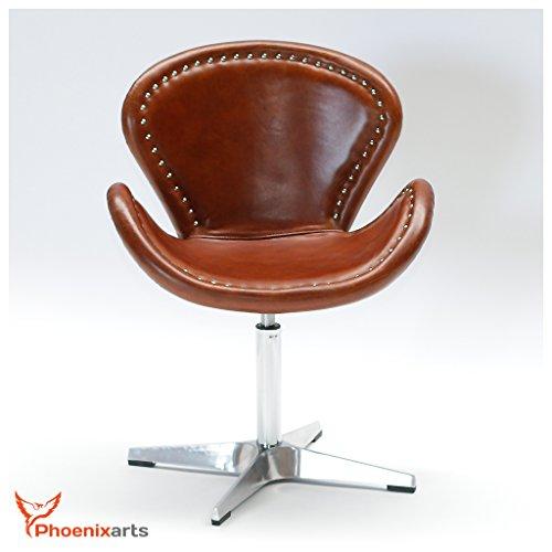 Phoenixarts Echtleder Vintage Ledersessel Braun Design Sessel Loft Drehsessel Lounge Clubsessel Möbel NEU 537 - 3