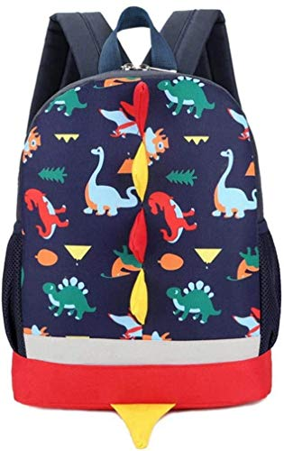 Mochila Infantil,WolinTek Dinosaurios Mochila para Niños Infantil Guarderia Mochila Escolar para Niños Niñas (Azul Oscuro)