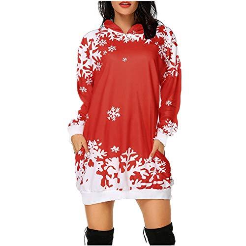 callmin Women's Christmas Bag Hip Pocket Mini Dress, Fashion Christmas Print Blouse Tops Hoodie Dress for Autumn and Winter Red