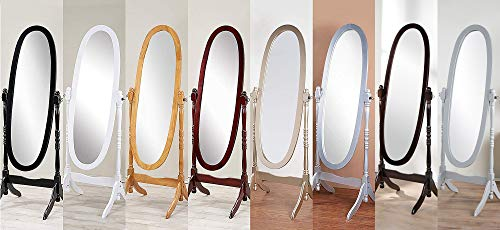 GTU Furniture Swivel Full Length Wood Cheval Floor Mirror, in White/Black/Cherry/Oak/Silver/Gold Finish (Grey)