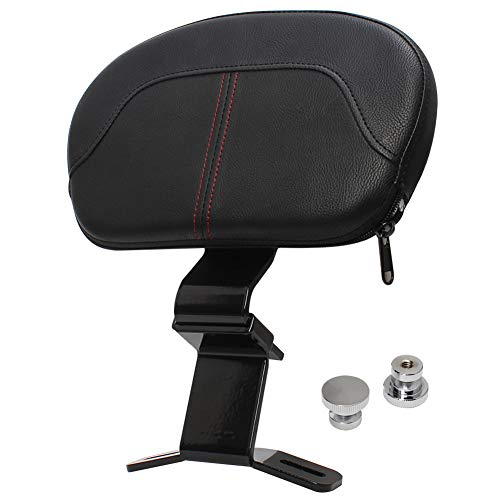 HIYOYO Motorcycle Red Stitching Front Driver Rider Backrest Pad Fits for Harley Touring CVO Street Glide Road King Special Classic Electra Glide 2009-2020 2019 2018