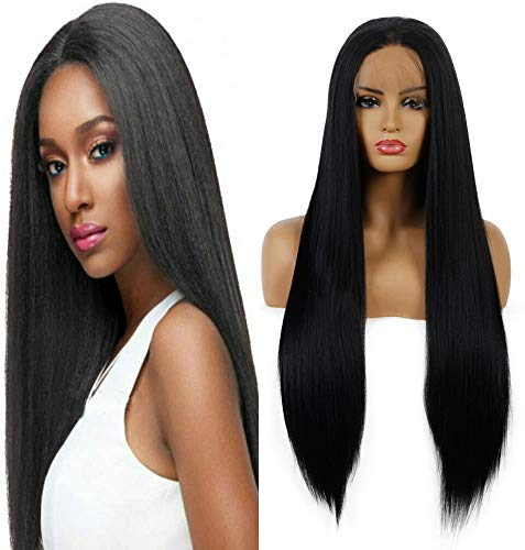Life Diaries 30% Human Hair+70% Synthetic Fiber 13x3.5Inch Lace Part Yaki Straight Lace Front Synthetic Wig Natural Black Half Hand Tied Wigs Natural Hairline Heat Resistant Fibers For Women 24Inch