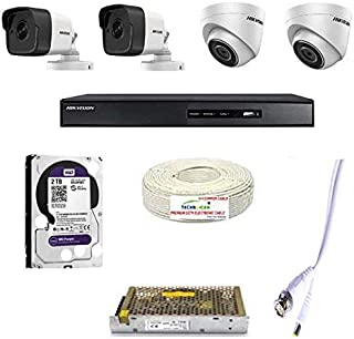 HIKVISION 4K Full HD 5MP CCTV Combo with 2 Bullet Cameras,2 Dome Camera, 4CH DVR (7B04HUHI-K1), 2TB Hard DISC , CCTV Wire ...